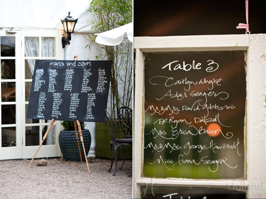 A few ideas is to double up your seating chart with your wedding favours